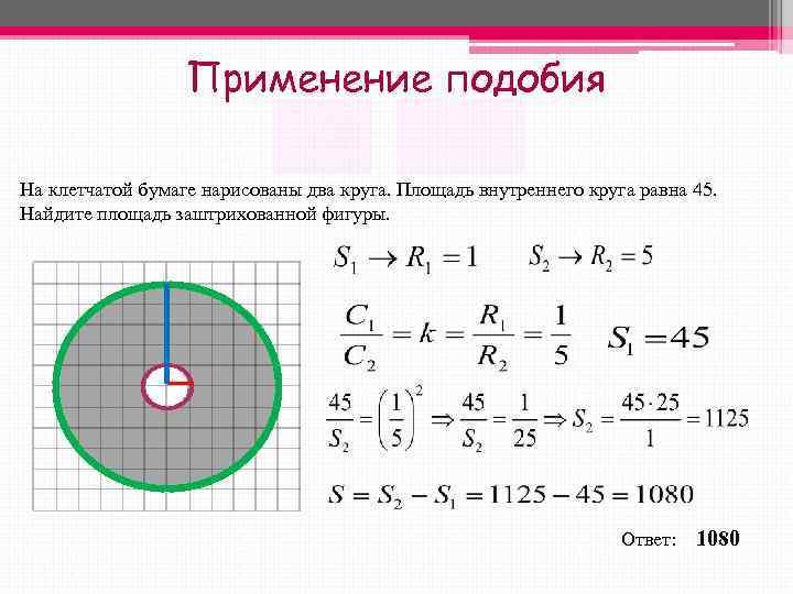 Применение подобия На клетчатой бумаге нарисованы два круга. Площадь
