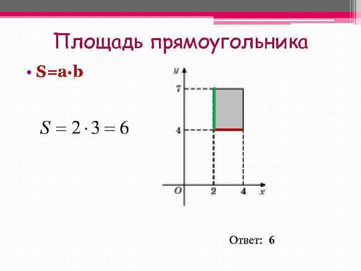 Площадь прямоугольника • S=a∙b    Ответ:  6