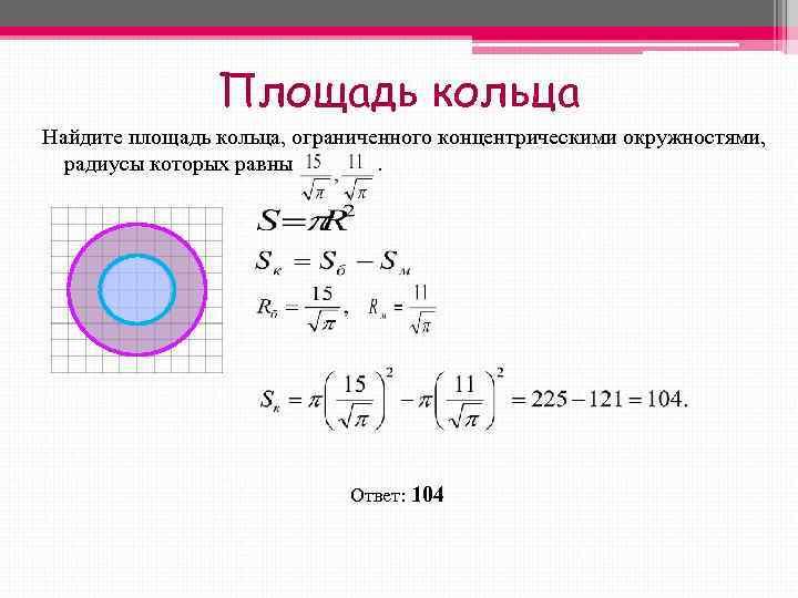 Площадь кольца Найдите площадь кольца, ограниченного концентрическими окружностями, радиусы которых
