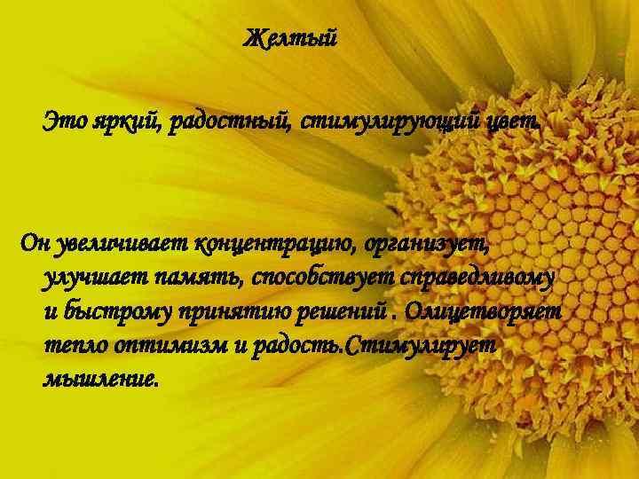 Желтый  Это яркий, радостный, стимулирующий цвет. Он увеличивает концентрацию, организует,