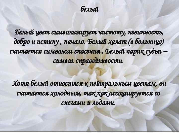 белый  Белый цвет символизирует чистоту, невинность,  добро