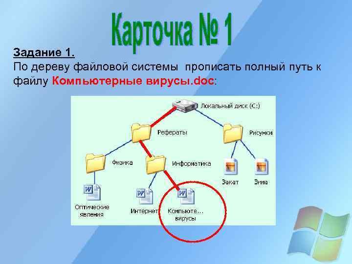 Задание 1. По дереву файловой системы прописать полный путь к файлу Компьютерные вирусы. doc: