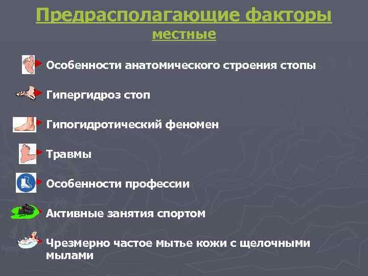 Предрасполагающие факторы     местные ► Особенности анатомического строения стопы ►