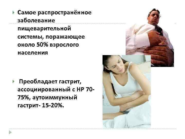 Самое распространённое заболевание пищеварительной системы, поражающее около 50% взрослого населения