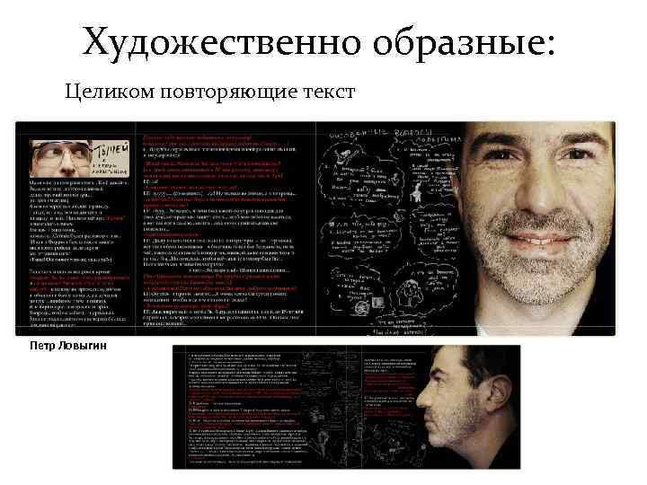 Художественно образные:  Целиком повторяющие текст Петр Ловыгин