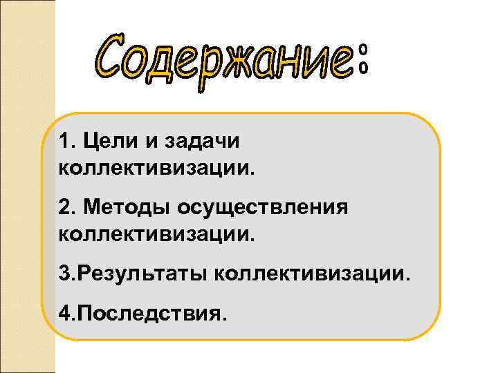 1. Цели и задачи коллективизации. 2. Методы осуществления коллективизации. 3. Результаты коллективизации. 4. Последствия.