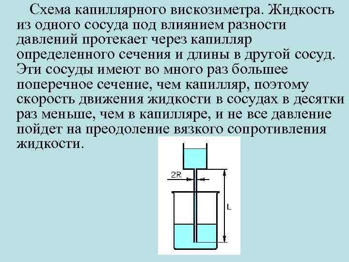 Схема капиллярного вискозиметра. Жидкость из одного сосуда под влиянием разности давлений протекает через