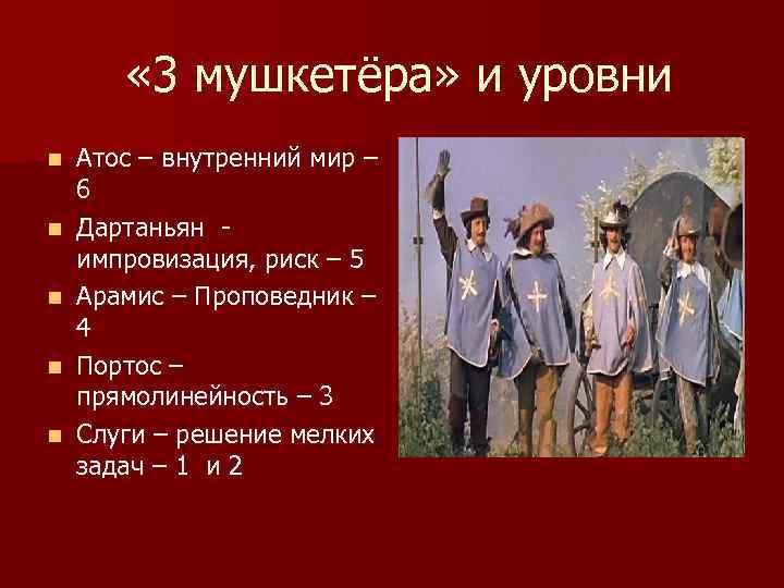 « 3 мушкетёра» и уровни n n n Атос – внутренний мир –