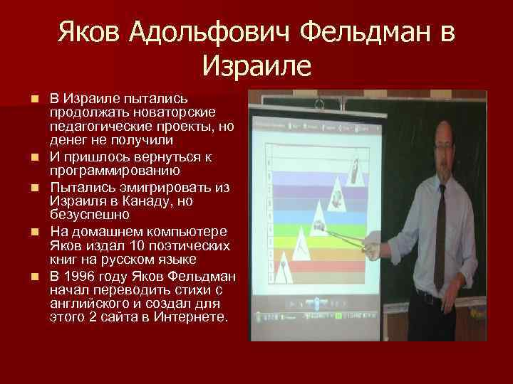 Яков Адольфович Фельдман в Израиле n n n В Израиле пытались продолжать новаторские педагогические