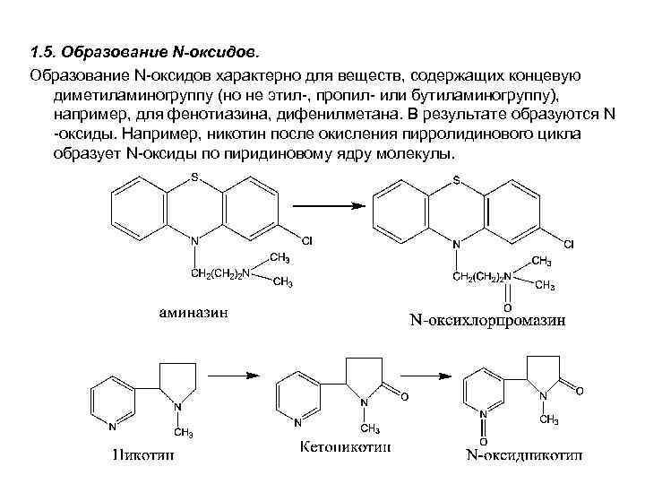 1. 5. Образование N-оксидов характерно для веществ, содержащих концевую диметиламиногруппу (но не этил-, пропил-
