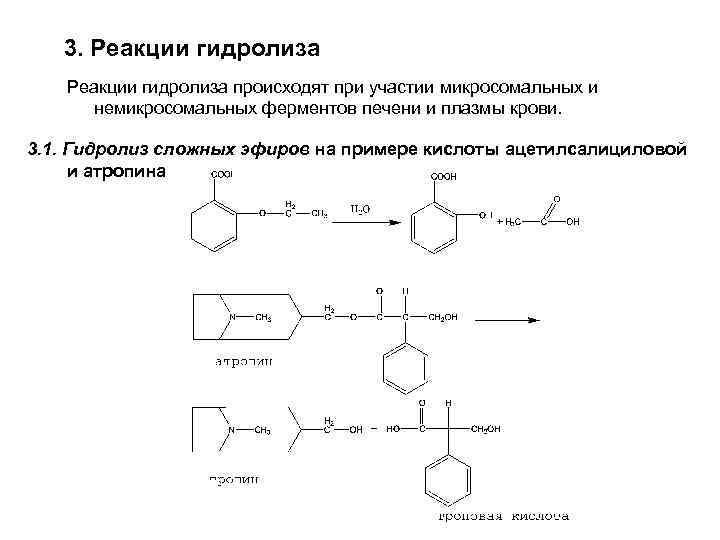 3. Реакции гидролиза происходят при участии микросомальных и немикросомальных ферментов печени и плазмы крови.