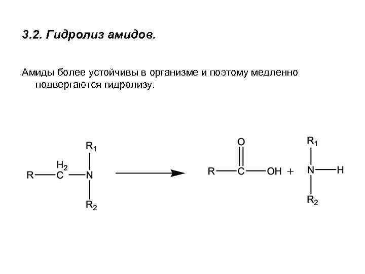 3. 2. Гидролиз амидов. Амиды более устойчивы в организме и поэтому медленно подвергаются гидролизу.