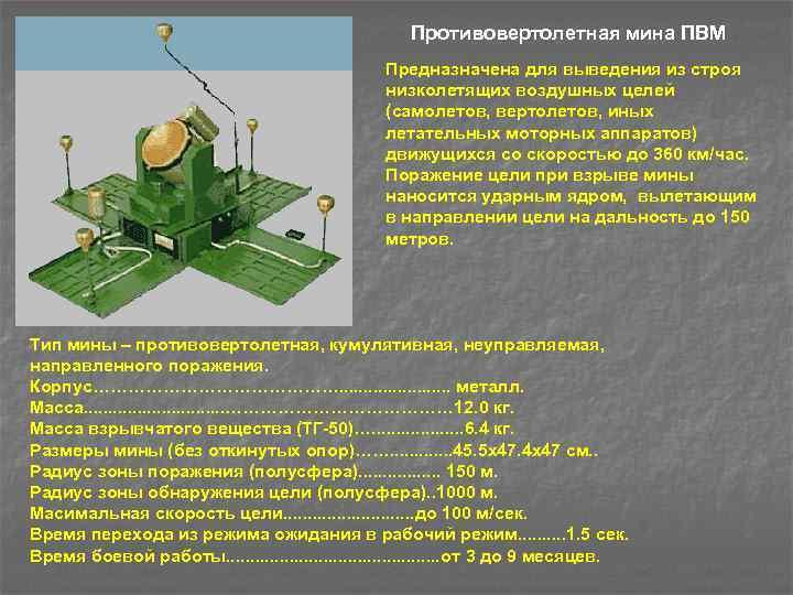 Противовертолетная мина ПВМ Предназначена для выведения из строя низколетящих воздушных целей (самолетов, вертолетов, иных