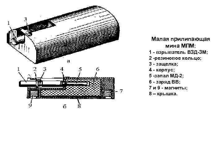 Малая прилипающая мина МПМ: 1 взрыватель ВЗД ЗМ; 2 резиновое кольцо; 3 - защелка;