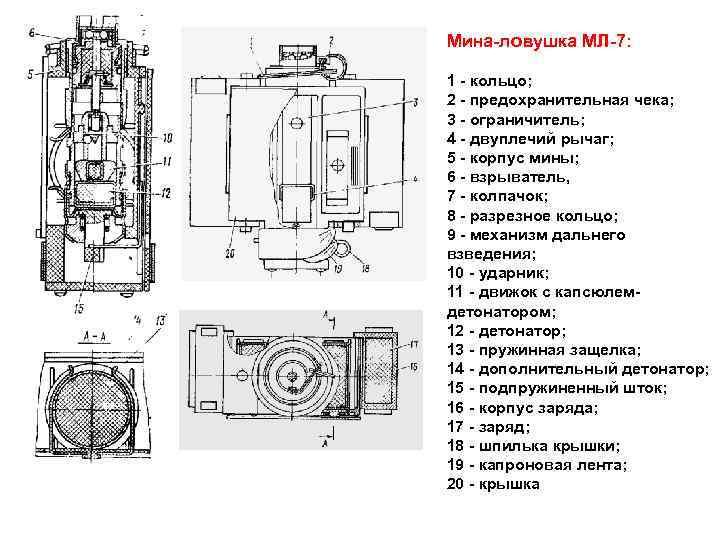 Мина ловушка МЛ 7: 1 кольцо; 2 предохранительная чека; 3 ограничитель; 4 двуплечий рычаг;