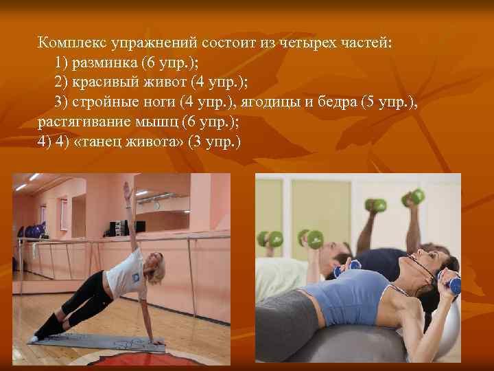 Комплекс упражнений состоит из четырех частей: 1) разминка (6 упр. ); 2) красивый живот