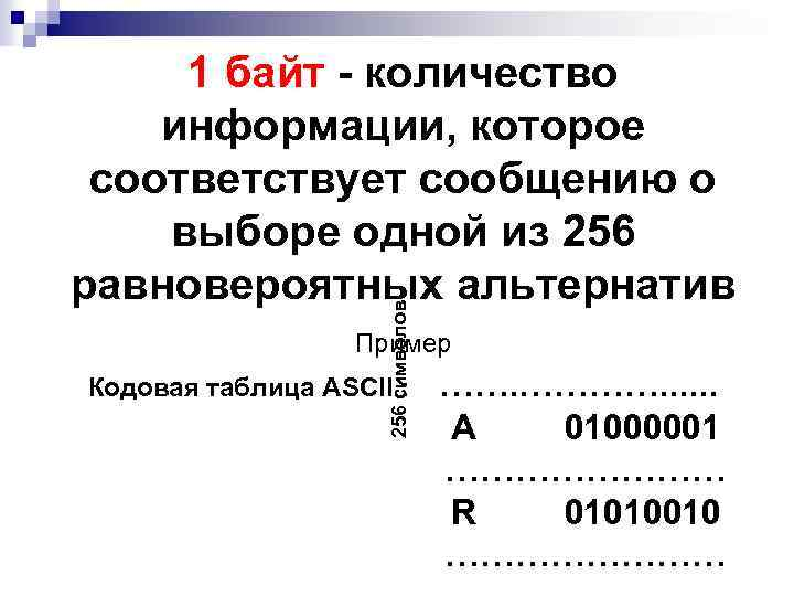 256 символов 1 байт - количество информации, которое соответствует сообщению о выборе одной из
