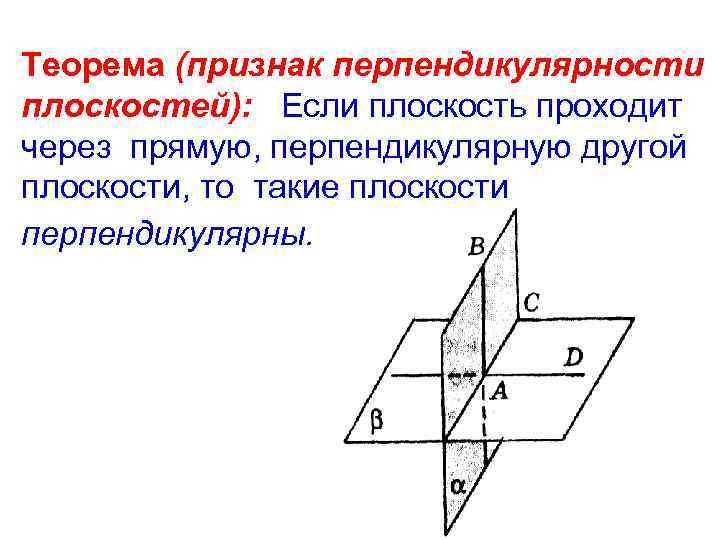 Теорема (признак перпендикулярности плоскостей): Если плоскость проходит через прямую, перпендикулярную другой плоскости, то такие