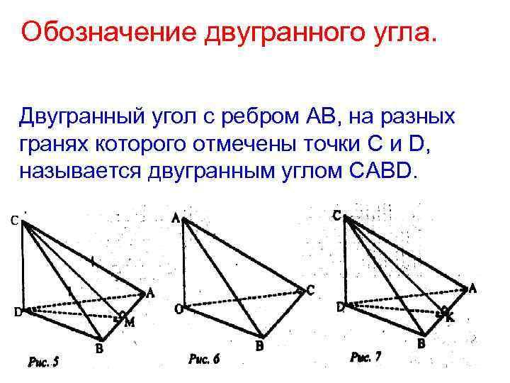 Обозначение двугранного угла. Двугранный угол с ребром АВ, на разных гранях которого отмечены точки