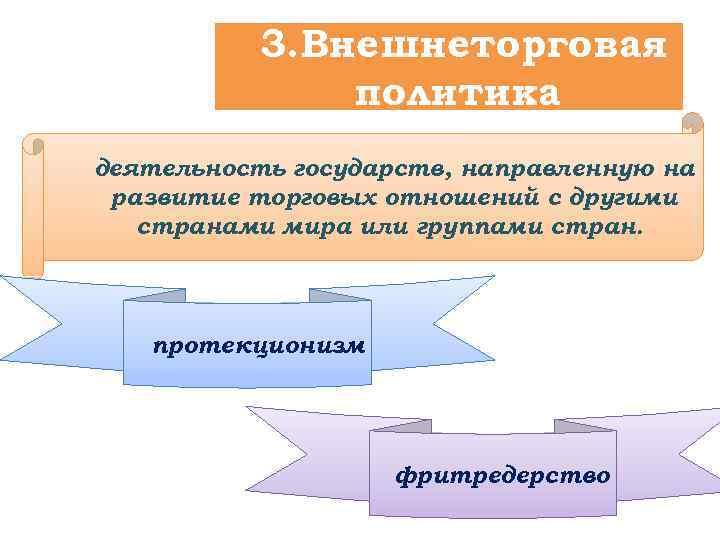 3. Внешнеторговая политика деятельность государств, направленную на развитие торговых отношений с другими странами мира