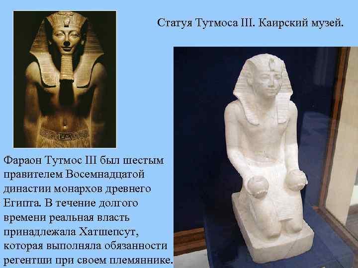 Статуя Тутмоса III. Каирский музей. Фараон Тутмос III был шестым правителем Восемнадцатой династии монархов