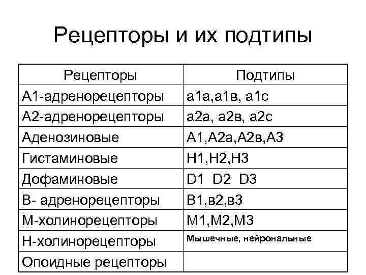 Рецепторы и их подтипы Рецепторы А 1 -адренорецепторы А 2 -адренорецепторы Аденозиновые Гистаминовые Дофаминовые
