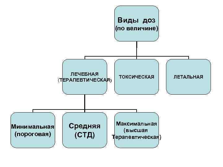 Виды доз (по величине) ЛЕЧЕБНАЯ (ТЕРАПЕВТИЧЕСКАЯ) Минимальная (пороговая) ТОКСИЧЕСКАЯ Средняя (СТД) Максимальная (высшая Терапевтическая)