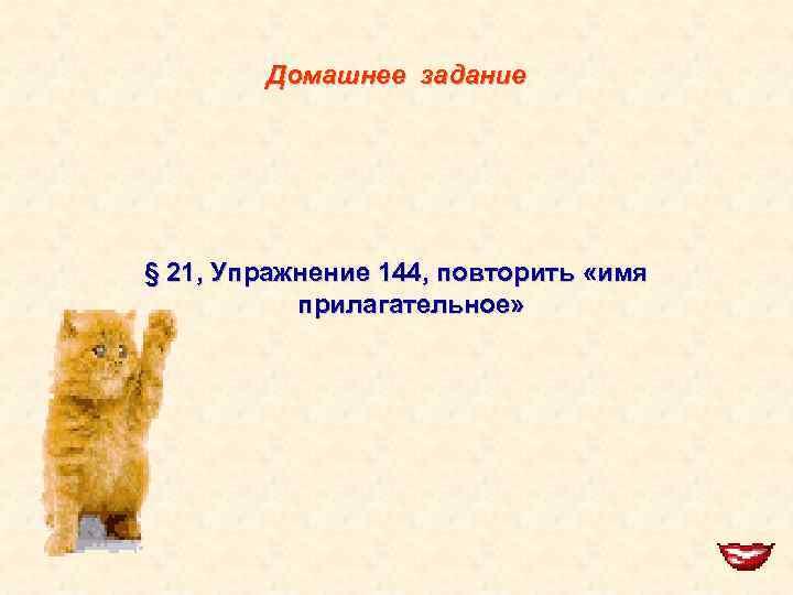Домашнее задание § 21, Упражнение 144, повторить «имя прилагательное»