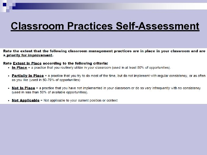 Classroom Practices Self-Assessment