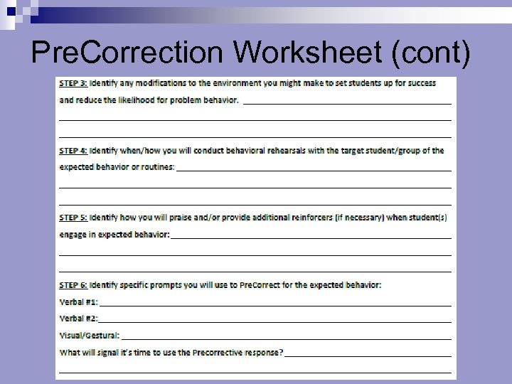 Pre. Correction Worksheet (cont)