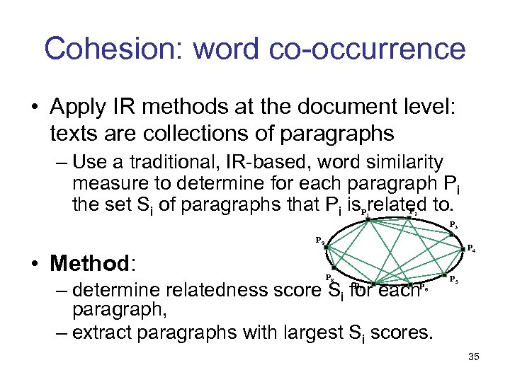 Cohesion: word co-occurrence • Apply IR methods at the document level: texts are collections
