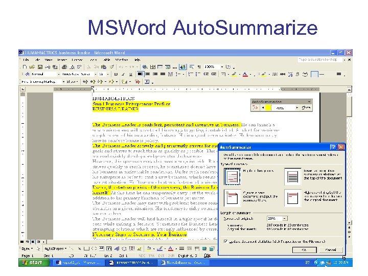 MSWord Auto. Summarize 6