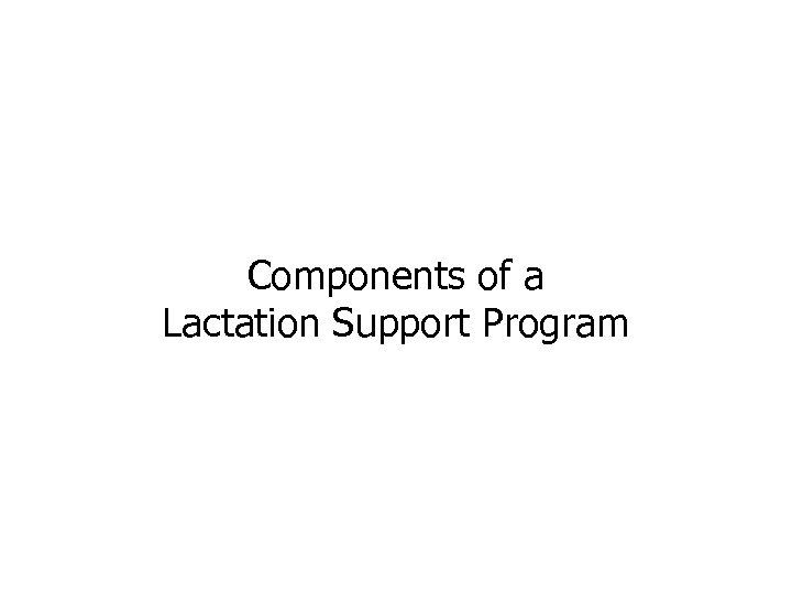 Components of a Lactation Support Program