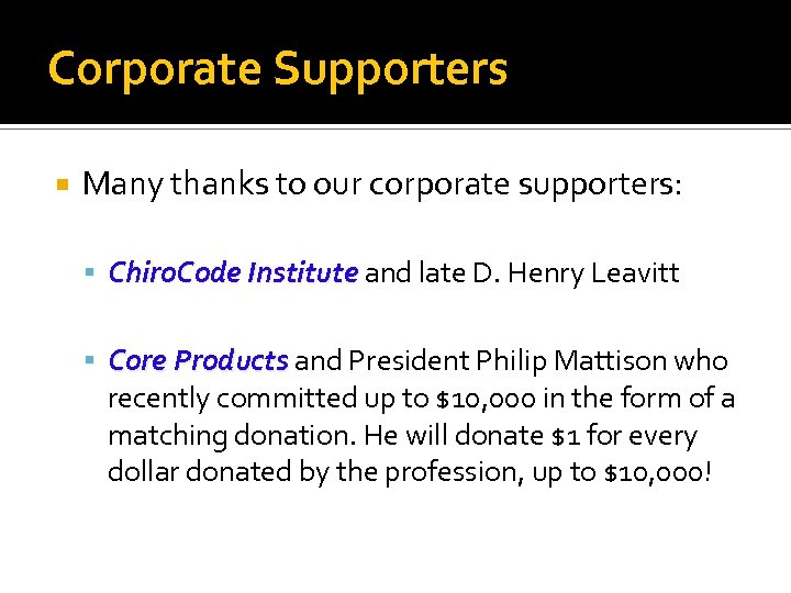 Corporate Supporters Many thanks to our corporate supporters: Chiro. Code Institute and late D.