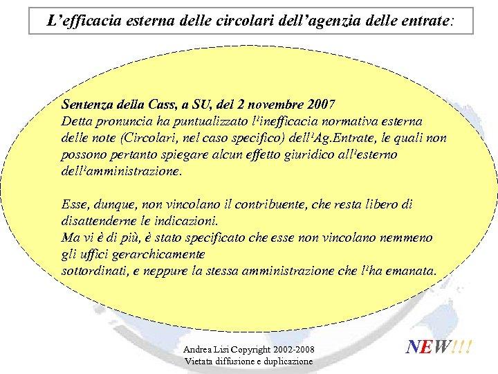 L'efficacia esterna delle circolari dell'agenzia delle entrate: Sentenza della Cass, a SU, del 2