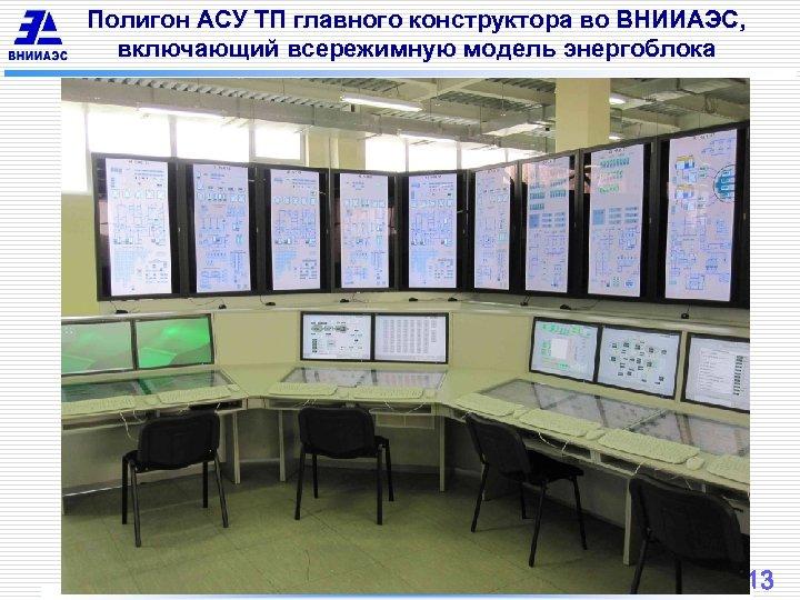 Полигон АСУ ТП главного конструктора во ВНИИАЭС, включающий всережимную модель энергоблока 13