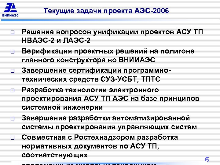 Текущие задачи проекта АЭС-2006 q q q Решение вопросов унификации проектов АСУ ТП НВАЭС-2
