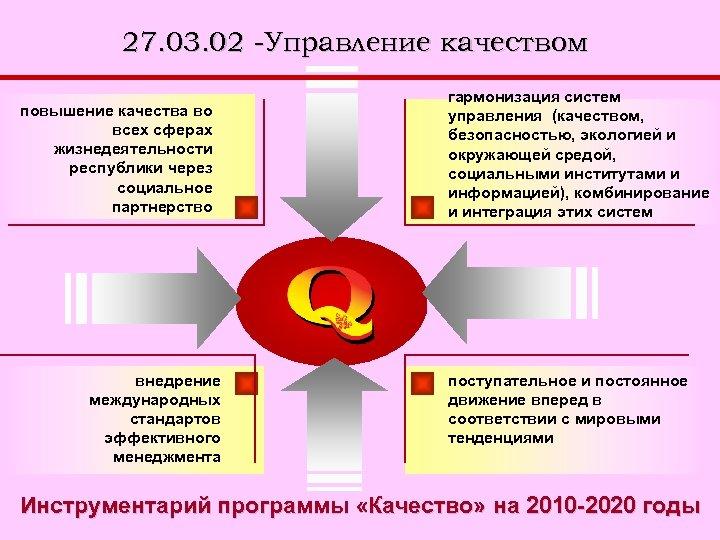 27. 03. 02 -Управление качеством повышение качества во всех сферах жизнедеятельности республики через социальное