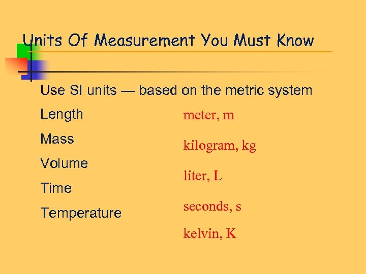Units Of Measurement You Must Know Use SI units — based on the metric