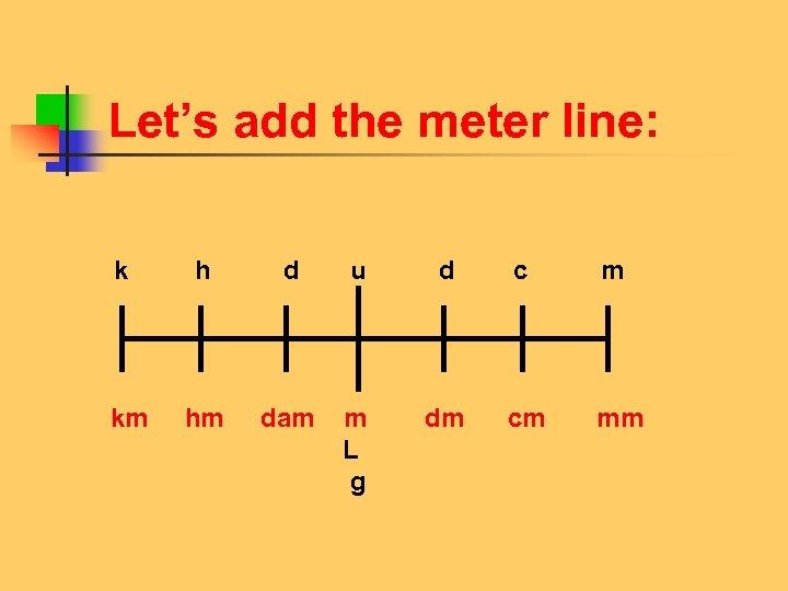 Let's add the meter line: k h d u d c m km hm