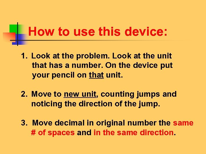 How to use this device: 1. Look at the problem. Look at the unit