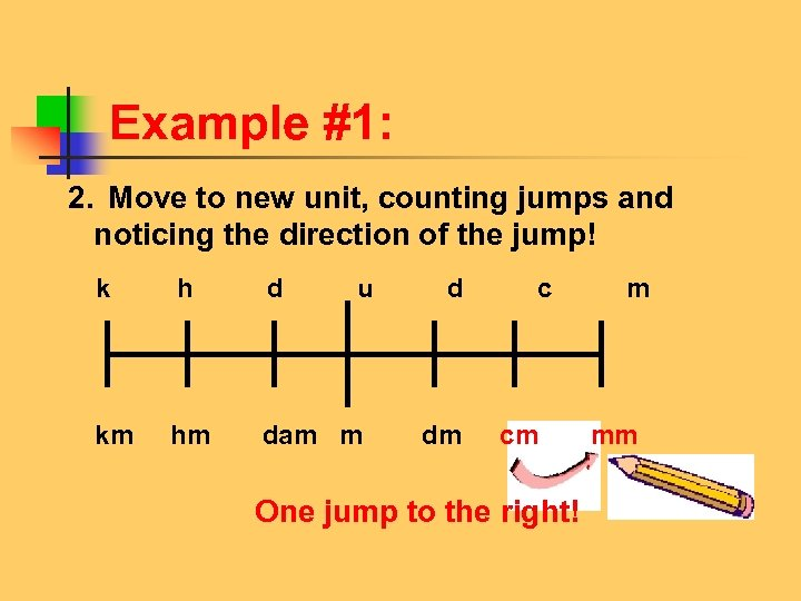 Example #1: 2. Move to new unit, counting jumps and noticing the direction of