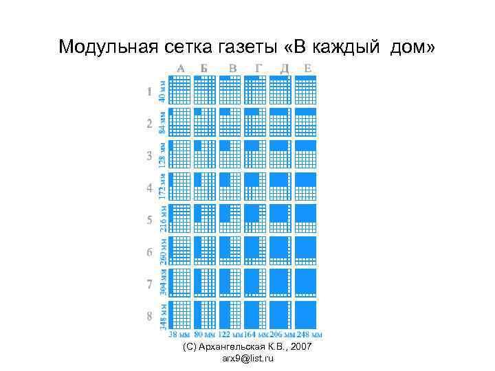 Модульная сетка газеты «В каждый дом» (С) Архангельская К. В. , 2007 arx 9@list.