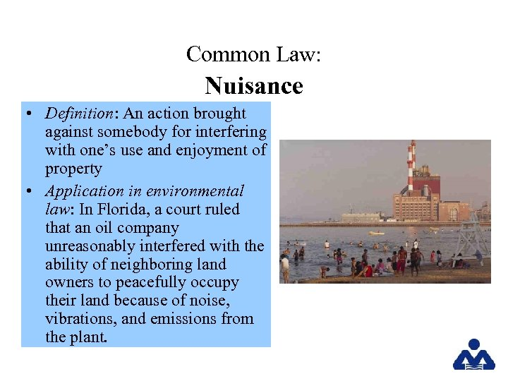 Common Law: Nuisance • Definition: An action brought against somebody for interfering with one's