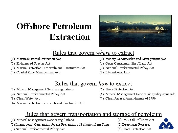 Offshore Petroleum Extraction Rules that govern where to extract (1) (2) (3) (4) Marine