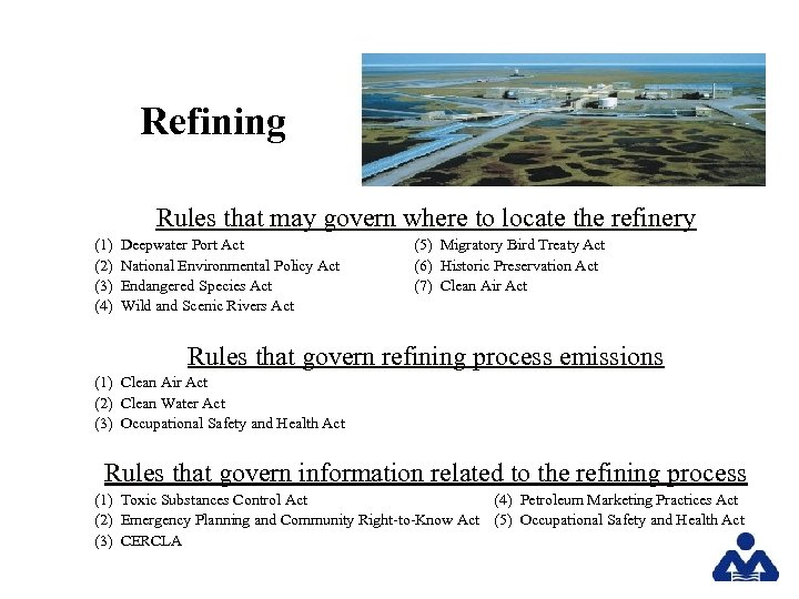Refining Rules that may govern where to locate the refinery (1) (2) (3) (4)