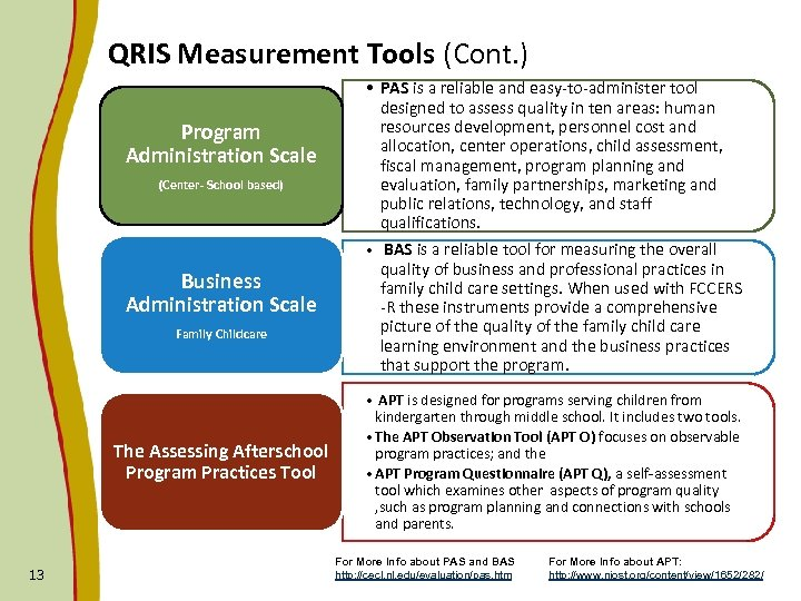 QRIS Measurement Tools (Cont. ) Program Administration Scale (Center- School based) Business Administration Scale