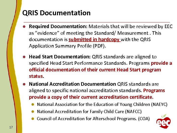 "QRIS Documentation l Required Documentation: Materials that will be reviewed by EEC as ""evidence"""