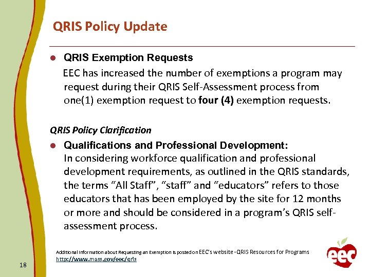 QRIS Policy Update l QRIS Exemption Requests EEC has increased the number of exemptions