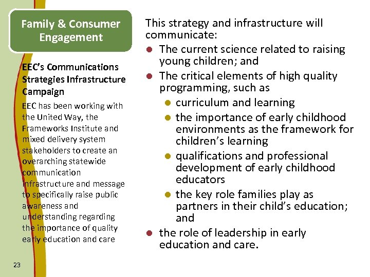 Family & Consumer Engagement EEC's Communications Strategies Infrastructure Campaign EEC has been working with